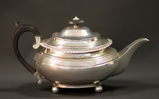Antique Solid Sterling Silver Tea Pot With Initials, London 1883, William Comyns & Sons
