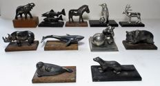 Lot with 11 heavy - silver-plated miniatures of animals -These were given out World Wide Fund for Nature (WNF/WWF)