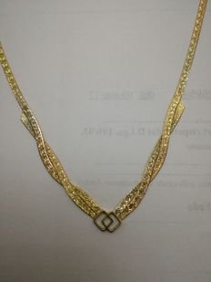Yellow and rose gold necklace - 42 cm