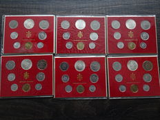 Vatican - Year sets 1971, 1974, 1975 (2x) , 1976 and 1977 (each 8 coins) including six silver 500 lire