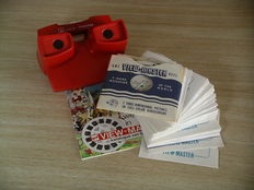 "View-Master Viewer European Model ""10"" with demo reel plus 46 ""non-scenic"" reels from 1950-2004"