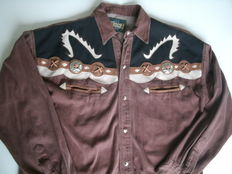 REAL COWBOY shirt - handmade with 3 colors leather with metal buttons and leather lace