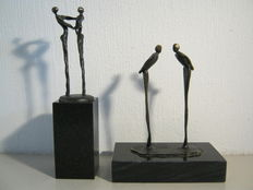 Corry Ammerlaan van Niekerk - lot of two signed sculptures on marble base - Attentively Communicative & Gratitude