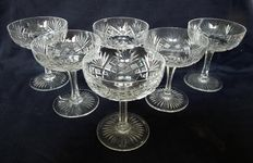Saint Louis crystal - 6 Champagne coupes, France, first half 20th century