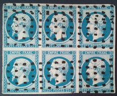 France 1853 – Napoleon III not perforated, 25 c blue, Block of 6, cancellation with wide dotted squares, signed Brun – Yvert n° 15.