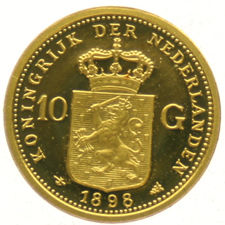Miniature restrike of the 10 guilder coin Wilhelmina 1898 – gold