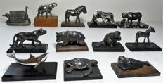 Lot with 12 heavy  silver-plated miniatures of animals -These were given out World Wide Fund for Nature (WNF/WWF)
