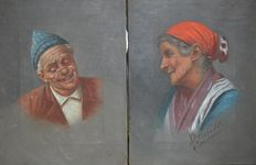 Achile Petrocelli (1861-1929) - Two portraits of an old Italian couple