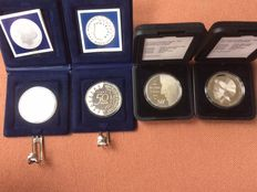 The Netherlands, 50 guilder coins, 1987, 1988, 1990 and 1991 (four different coins), silver