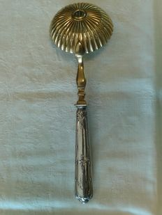 Silver and vermeil (silver gilt) sprinkling spoon, France, mid-19th century