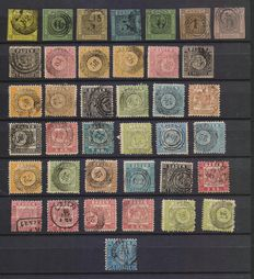 German Empire, Baden – Lot of used stamps from 1851 to 1862, Michel from 1 to 25