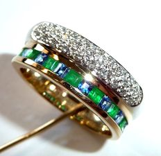Double ring in 585/14 kt gold with diamonds, sapphires and emeralds totalling 1.25 ct