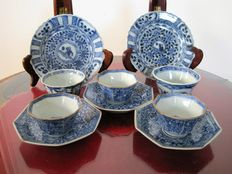 Five porcelain cups with saucers - China - 18th century.
