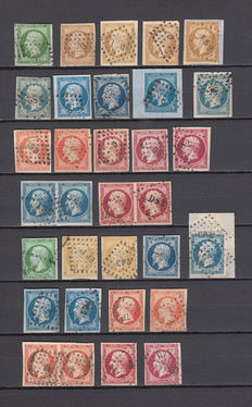 France 1853/1860 – Napoleon III – Yvert No. 12, 13A, 13B, 14A, 14B, 15, 16, 17A, 17B. Cancellations, letters and figures of baton, travelling.