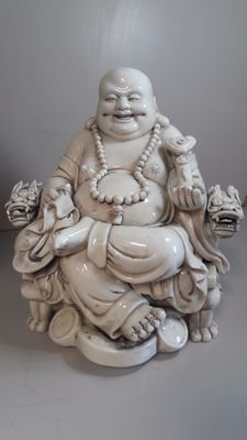 Large statue - happy Buddha - Blanc de Chine - China 2nd half 20th century.