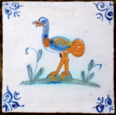 Rare antique tile with an ostrich, 17th century.