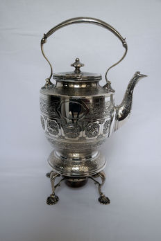 A Scottish silver plated zodiac kettle on stand by D.C. Rait, Glasgow - circa 1870