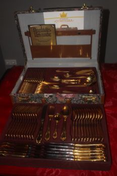 """SBS Solingen cutlery case, 70 pieces - model """"GLORIA ROYAL"""", No. 2000- 18/10 stainless steel, 23/24 carat fine hard 1000 gold plated, Comtessa"""