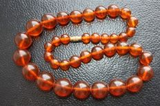 Antique Baltic amber necklace 1920s - 1940s , 55 grams,  natural amber