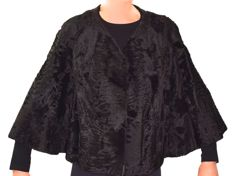 Broadtail evening bolero, black, extremely fine, size 38 - 40 EU