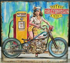 Harley Davidson - wooden panel engraved with pyrography tool - ca. 2005