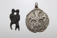 Viking Bronze 'Freyr and Freya' Erotic Mount and Silver Raven Pendnat Group - 26 mm and 37 mm