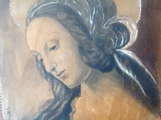 Portrait of the Virgin Mary on wood panel - France - first half of the twentieth-century signed JM + icon on triptych