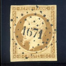 France 1852 - 10c Presidence brown bister - Yvert no. 9a, signed Thiaude