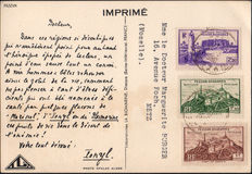 French Occupation of Fezzan Ghadamès, Military Territory, 1946 - Complete series in blocks of four, mini sheets, postcard.