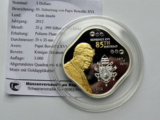 Cook Islands - 5 dollars 2012 '85th Birthday of Pope Benedict XVI' - silver, partially gold-plated, with Swarovski stones