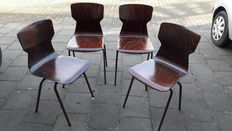 Eromes - Four industrial school chairs
