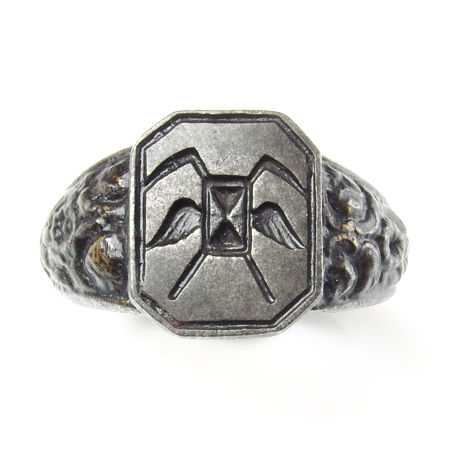 Very rare antique Berlin iron signet ring with masonic symbols - Patriotic 'Iron for gold'