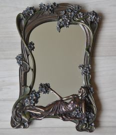 Beautiful art nouveau style mirror, with reclining woman, patinated bronze