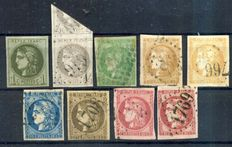 France 1870 – Small assortment of Bordeaux Type – Yvert no. 39, 41B, 42B, 43 A and B, 46B, 47, 48 and 49c.