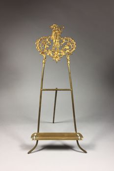 Gold-plated brass miniature easel-France-ca. 1900
