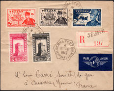 Italian Occupations, Fezzan Ghadamès, 1949 - Complete series on 2 registered letters for Lyon.