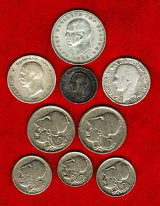 Greece - Collection of 9 coins 4 silver coins: George I (1 drachma: 1873 and 1910 and 50 lepta 1874). Paul I (20 drachmas, 1960). 5 copper-nickel coins, 1926. (9)