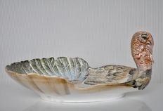 """RB Italy - Hand painted ceramic """"Thanksgiving"""" turkey dish"""