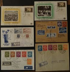 Israel 1949/1952 - Selection of special and better FDCs and postal items including some with full tab