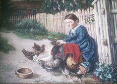 Unknown artist - Young lady feeding the chicken