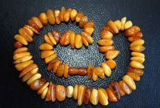 Old Russian Baltic amber, 100% natural amber beads - egg yolk colour, Kaliningrad area,  75 grams