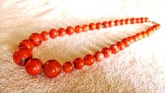 Huge Antique Berber Natural Coral Round Beads Necklace, 88gr