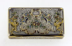 Antique Silver and Decorative Enamel Snuff Box, France c.1880