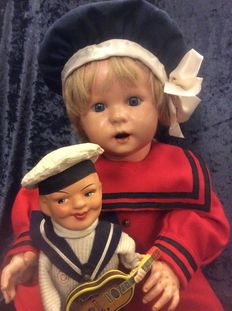Unis France 247 Character pop on French toddler body in sailor clothes with guitar playing doll