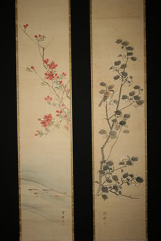 """A set of two scroll paintings signed by Yokoyama Seiki """" sweet fish , flowers and bird """" -  Japan - early 19th century"""