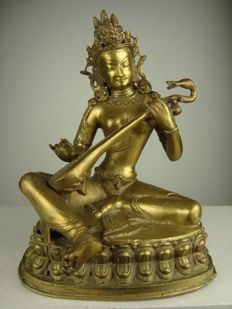 Copper statue of a musician - Nepal - 2nd Part of the 20th century