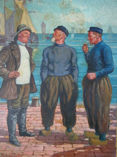 K. Deppermann (20th century) - Fishermen at the port with ships