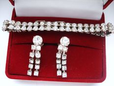 Vintage 1960s – Demi Parure - Glitzy Set = Diamante Tennis Bracelet + Earrings - NO Reserve