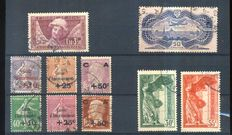 France 1928/1936 – Stamp selection - Yvert n° 249/251, 253 to 256, 254/255, PA15