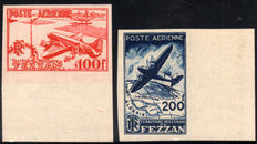 French Occupation of Fezzan Ghadamès, 1948 - Air Mail - Not perforated - 2 stamps.